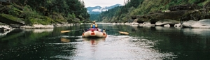A raft floating on the Rogue River