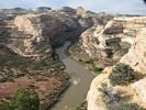 The view looking down onto the Yampa River from Wagon Wheel Point