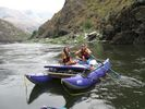 A couple on a purple cat a raft on the Lower Salmon, Idaho