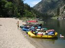 Rafts tied up at Buckskin Bill's store on the Main Salmon River
