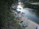 A rafting party camped at Black Canyon Beach on the Main Salmon River