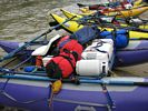 Close up of raft loaded for rafting trip on the Middle Fork